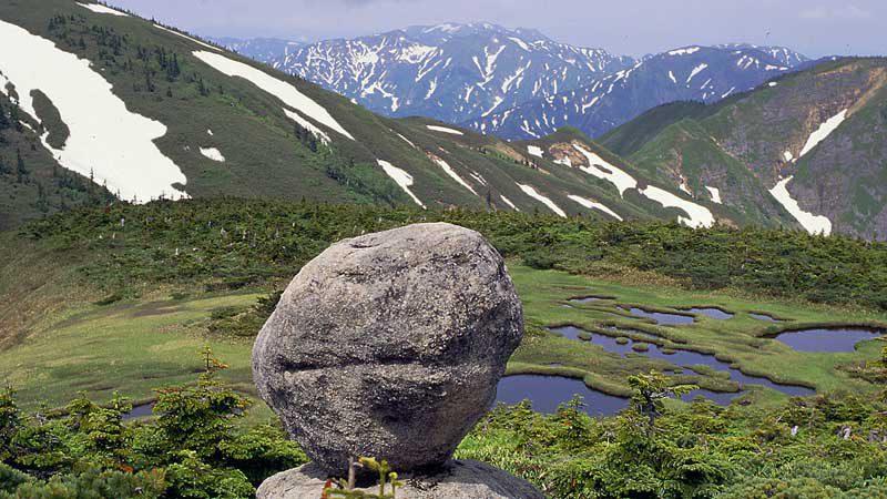 平ヶ岳山頂付近の玉子石