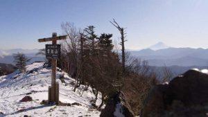 雲取山山頂と富士山