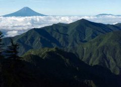 甲武信岳頂上より富士山を望む
