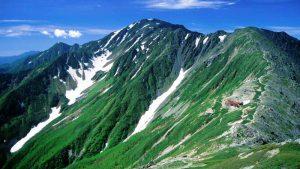北岳から望む間ノ岳と北岳山荘