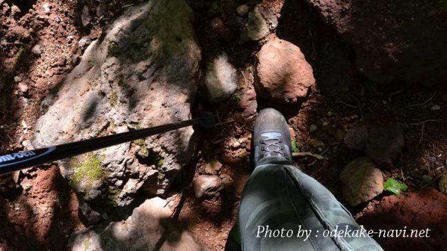 トレッキングポールと登山靴