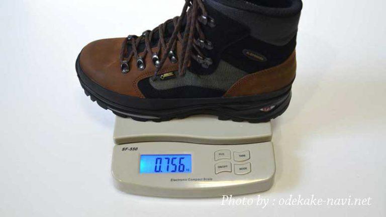 LOWAの登山靴のメリーナの重さ