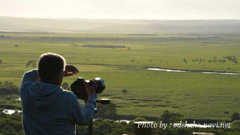 細岡展望台からの釧路湿原とカメラマン