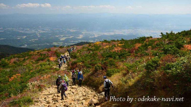 紅葉の安達太良山と登山道