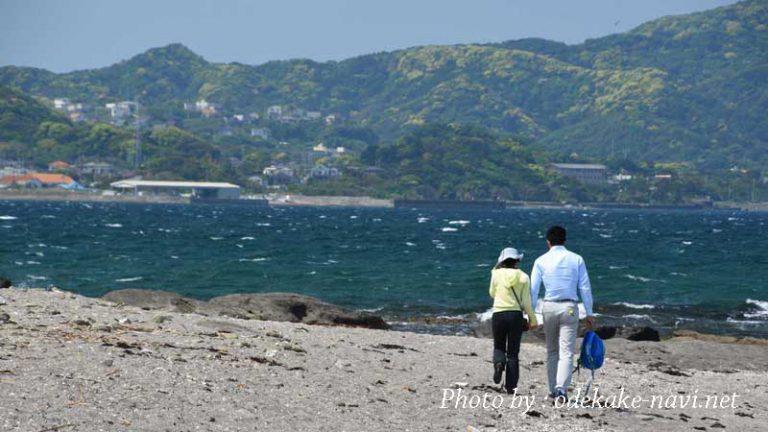 海岸を歩く夫婦