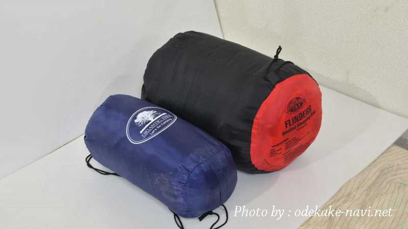 夏用寝袋と冬用寝袋